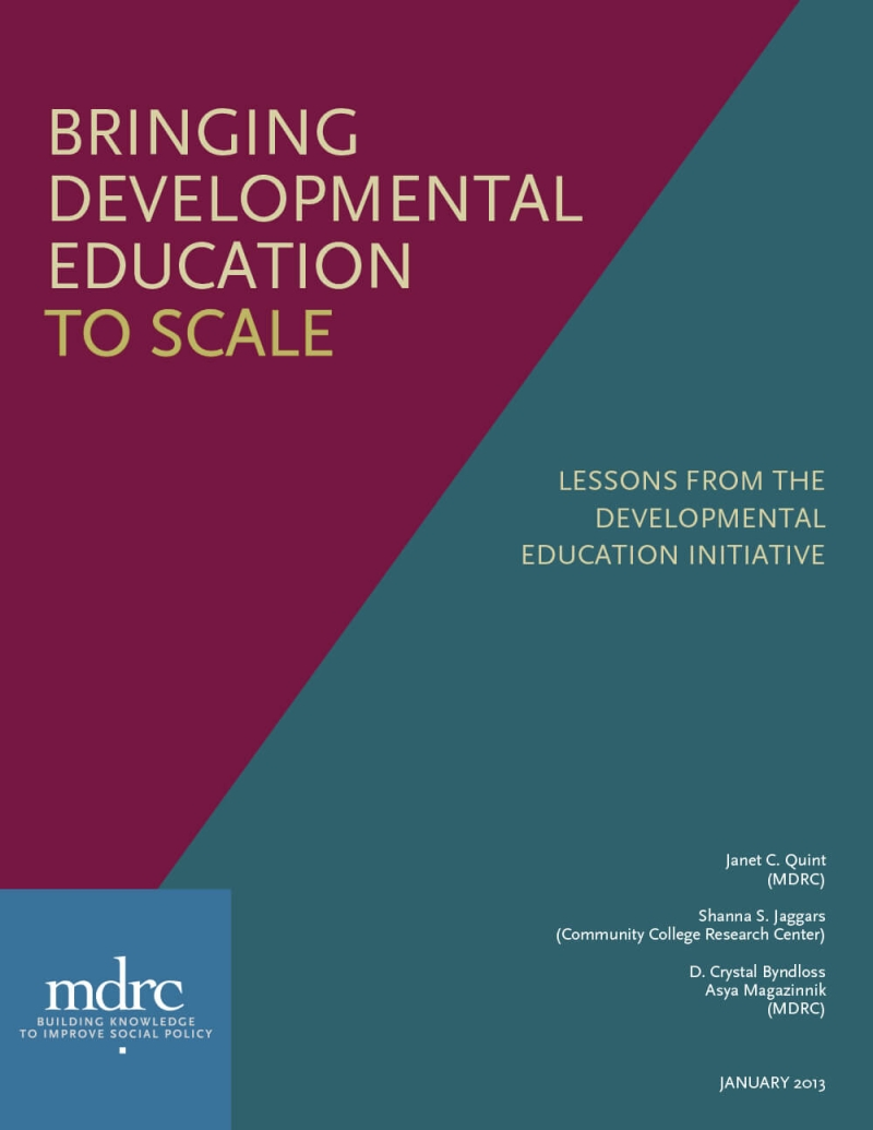 Bringing Developmental Education to Scale: Lessons From the Developmental Education Initiative
